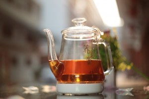 black tea in glass jug