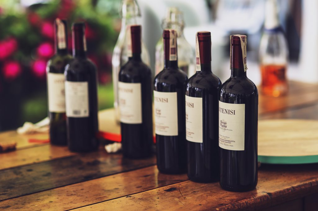 red wine bottles