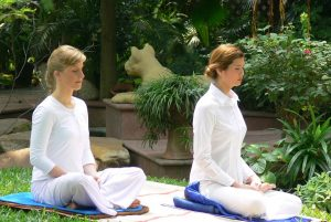 women meditating
